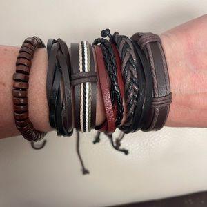 6 Genuine Leather Bracelets Set